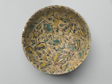 Bowl with Birds, 10th century. Ceramic; earthenware, painted in black slip and green and yellow pigments under a transparent glaze, 3 1/4 x 8 1/2in. (8.3 x 21.6cm). Brooklyn Museum, Gift of the Ernest Erickson Foundation, Inc., 86.227.3. Creative Commons-BY