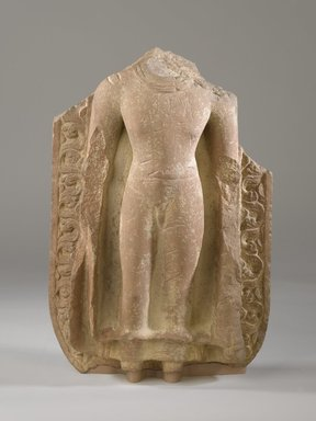 Torso of a Standing Buddha, 5th century. Red sandstone, 16 x 10 x 4 1/2 in. (40.6 x 25.4 cm). Brooklyn Museum, Gift of the Ernest Erickson Foundation, Inc., 86.227.47. Creative Commons-BY