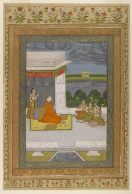 Indian. Figures on a Terrace, ca. 1760-1775. Opaque watercolor and gold on paper, sheet: 18 15/16 x 12 7/8 in.  (48.1 x 32.7 cm). Brooklyn Museum, Gift of the Ernest Erickson Foundation, Inc., 86.227.54