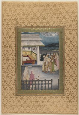 Indian. A Lady Being Led to her Bedchamber, late 18th century. Opaque watercolors on paper, sheet: 18 5/16 x 12 7/16 in.  (46.5 x 31.6 cm). Brooklyn Museum, Gift of the Ernest Erickson Foundation, Inc., 86.227.55
