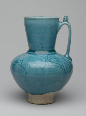 Ewer, 12th - 13th century. Ceramic; fritware, with incised decoration under a turquoise glaze, 8 x 5 1/2 in. (20.3 x 14cm). Brooklyn Museum, Gift of the Ernest Erickson Foundation, Inc., 86.227.59. Creative Commons-BY
