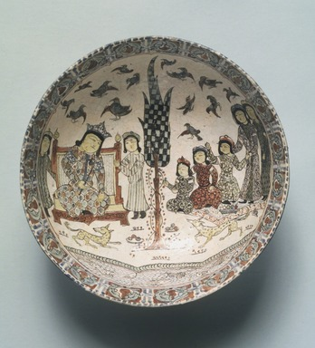 Bowl with an Enthronement Scene, late 12th-early 13th century. Ceramic, mina'i (enameled) or haft rangi (seven colors) ware; in-glaze painted in blue, turquoise, and purple on an opaque white glaze, overglaze painted in red and black, with leaf gilding, 3 3/16 x 8 1/4 in. (8.1 x 21 cm). Brooklyn Museum, Gift of the Ernest Erickson Foundation, Inc., 86.227.61. Creative Commons-BY