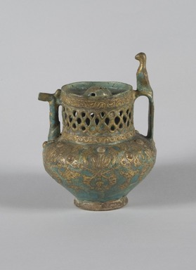 Vase in the Shape of a Pitcher, Lajevardina ware, mid-13th century. Ceramic; fritware, reticulated, molded, and painted in turquoise, red, white with gold-leaf overglaze over an opaque transparent glaze, 7 9/16 x 5 11/16 in. (19.2 x 14.5 cm). Brooklyn Museum, Gift of the Ernest Erickson Foundation, Inc., 86.227.67. Creative Commons-BY