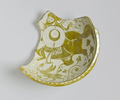 Brooklyn Museum: Fragment of a Bowl Depicting a Mounted Warrior