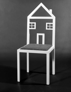 Kate Loye. One Family House Chair, Designed 1984; this example made 1986. Steel tubing, electrostatic paint, astroturf, plywood, 42 1/2 x 17 x 17 in. (108 x 43.2 x 43.2 cm). Brooklyn Museum, Gift of Riane Eisler, 86.240. Creative Commons-BY