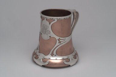 Mug, ca. 1900. Copper with applied silver, glass, 5 1/2 x 5 1/2 x 5 1/4 in. (14 x 14 x 13.3 cm). Brooklyn Museum, Gift of Mr. and Mrs. Jay Lewis, 86.242.2. Creative Commons-BY