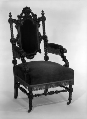 Alexander Roux (American, born France, 1813-1886 (active New York, 1836-1880)). Armchair, ca. 1850. Rosewood, 45 1/4 x 23 1/4 x 25 3/4 in. (114.9 x 59.1 x 65.4 cm). Brooklyn Museum, Anonymous gift, 86.244.1. Creative Commons-BY