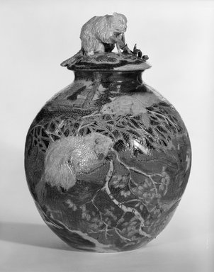 Eileen Murphy (American, born 1947). Woodland Scene, Beaver Dam, Covered Jar, ca. 1986. Salt-glazed stoneware, 13 in. (33 cm). Brooklyn Museum, Gift of Sanford L. Smith, 86.247a-b. Creative Commons-BY