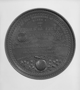William Barber (American, born England, 1807-1879). Cyrus W. Field Congressional Medal, 1867 designed; 1868 struck. Bronze, 4 1/16 x 4 1/16 x 1/2 in. (10.3 x 10.3 x 1.3 cm). Brooklyn Museum, Gift of M. Christman Zulli, 86.248.1. Creative Commons-BY