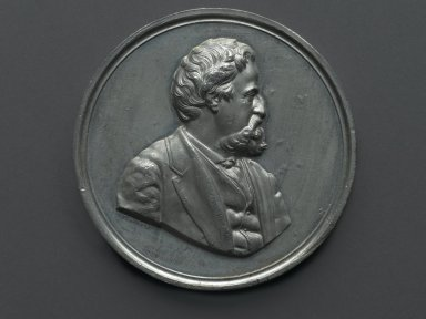 William Barber (American, born England, 1807-1879). Henry R. Linderman Medal, ca. 1869. Silver-plated metal, 3 x 3 x 5/16 in. (7.6 x 7.6 x 0.8 cm). Brooklyn Museum, Gift of M. Christman Zulli, 86.248.2. Creative Commons-BY