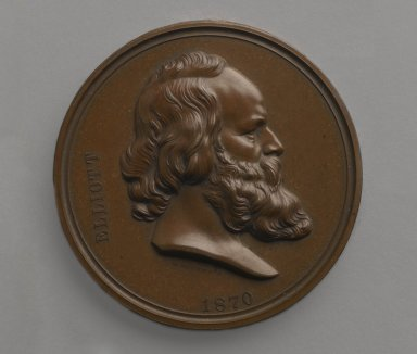 William Barber (American, born England, 1807-1879). Charles Loring Elliott Medal, ca. 1870. Bronze, 2 1/2 x 2 1/2 x 3/16 in. (6.4 x 6.4 x 0.5 cm). Brooklyn Museum, Gift of M. Christman Zulli, 86.248.3. Creative Commons-BY