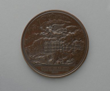 William Barber (American, born England, 1807-1879). Chicago Fire Medal, 1872. Bronze, 2 1/16 x 2 1/16 x 3 1/16 in. (5.2 x 5.2 x 7.8 cm). Brooklyn Museum, Gift of M. Christman Zulli, 86.248.4. Creative Commons-BY
