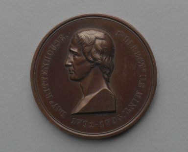 William Barber (American, born England, 1807-1879). David Rittenhouse Medal, ca. 1871. Bronze, 1 13/16 x 1 13/16 x 3/16 in. (4.6 x 4.6 x 0.5 cm). Brooklyn Museum, Gift of M. Christmann Zulli, 86.248.5. Creative Commons-BY