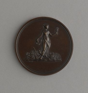 William Barber (American, born England, 1807-1879). Medal with Personification of Agriculture, ca. 1870. Bronze, 1 3/8 x 1 3/8 x 1/8 in. (3.5 x 3.5 x 0.3 cm). Brooklyn Museum, Gift of M. Christmann Zulli, 86.248.6. Creative Commons-BY