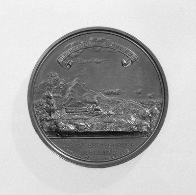 William Barber (American, born England, 1807-1879). Pacific Railroad Commemorative Medal, 1869. Bronze, Medal, diameter: 1 3/4 in. (4.4 cm). Brooklyn Museum, Gift of M. Christmann Zulli, 86.248.8a-b. Creative Commons-BY