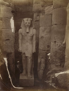 Antonio Beato (Italian and British, after 1832-1906). Louxor Statue de Rameses, 19th century. Albumen silver photograph, image/sheet: 10 1/2 x 8 in. (26.6 x 20.3 cm). Brooklyn Museum, Gift of Alan Schlussel, 86.250.10