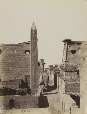 Antonio Beato (Italian and British, after 1832-1906). Obelisque et Pylone de Ramses, 19th century. Albumen silver photograph, image/sheet: 10 7/16 x 7 15/16 in. (26.5 x 20.2 cm). Brooklyn Museum, Gift of Alan Schlussel, 86.250.11