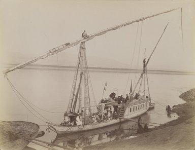 Antonio Beato (Italian and British, after 1832-1906). Louxor Dahabieh, 19th century. Albumen silver photograph, image/sheet: 8 x 10 3/8 in. (20.3 x 26.4 cm). Brooklyn Museum, Gift of Alan Schlussel, 86.250.12