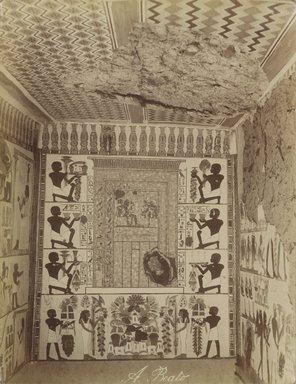 Antonio Beato (Italian and British, after 1832-1906). Interieur du Tombeau Nakht, 19th century. Albumen silver photograph, image/sheet: 10 3/8 x 7 15/16 in. (26.4 x 20.2 cm). Brooklyn Museum, Gift of Alan Schlussel, 86.250.21