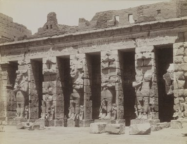 Antonio Beato (Italian and British, after 1832-1906). Medinet Habou Lere Cour Cote Nord, 19th century. Albumen silver photograph, image/sheet: 7 7/8 x 10 3/16 in. (20 x 25.9 cm). Brooklyn Museum, Gift of Alan Schlussel, 86.250.30