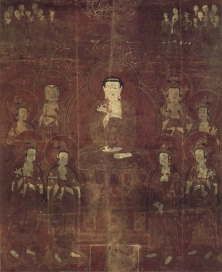 Amit'a (Amitabha) and the Eight Bodhisattvas, Dated in accordance with 1666. Hanging scroll; ink and gold on silk, 39 x 32 in. (99.1 x 81.3cm). Brooklyn Museum, Gift of Mr. and Mrs. Herbert Greenberg, 86.260.1