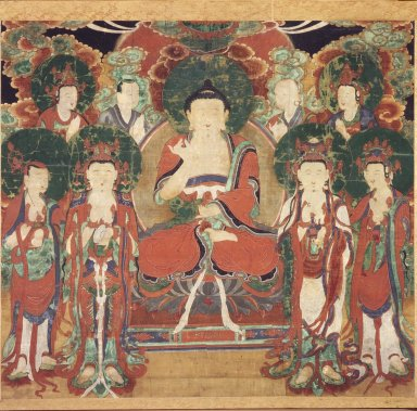 Amit'a (Amitabha) with Six Bodhisattvas and Two Arhats, 19th century. Ink and colors on silk, 31 3/4 x 35 1/4 in.  (80.6 x 89.5 cm). Brooklyn Museum, Gift of Mr. and Mrs. Herbert Greenberg, 86.260.2