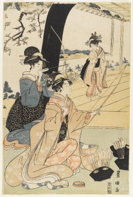 Utagawa Toyokuni I (Japanese, 1769-1825). Young Samurai and Female Attendants Practicing Archery, Half of a Diptych, ca. 1800. Woodblock print, 15 1/8 x 10 in. (38.4 x 25.4 cm). Brooklyn Museum, Gift of Mr. and Mrs. Ran Hettena, 86.263.10