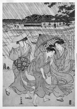 Yushid-o Shuncho (Japanese). Three Women on the Bank of a River in a Shower, 1789. Woodblock print, 14 5/16 x 9 15/16 in. (36.4 x 25.2 cm). Brooklyn Museum, Gift of Mr. and Mrs. Ran Hettena, 86.263.13