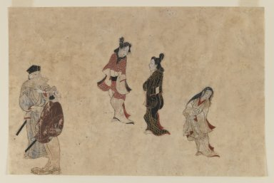 Early Ukiyo-e Painting, 1625 - 1640. Ink, color and gold on paper, 10 7/16 x 13 13/16 in. (26.5 x 35.1 cm). Brooklyn Museum, Gift of Mr. and Mrs. Ran Hettena, 86.263.1