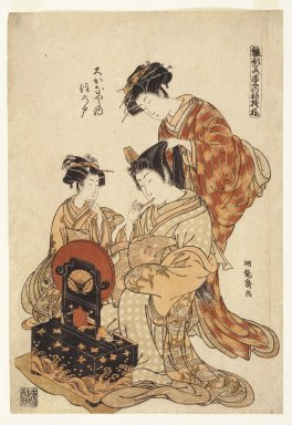 Isoda Koryusai (Japanese, ca. 1766-1788). Page from the Series Hanagata Wakana no Hatsu Moyo (Models for Fashion: New Design as Fresh as Young Leaves), ca. 1775. Woodblock print, 14 3/4 x 10 in. (37.5 x 25.4 cm). Brooklyn Museum, Gift of Mr. and Mrs. Ran Hettena, 86.263.3