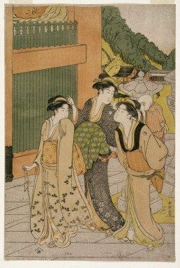 Katsukawa Shunsho (Japanese, 1726-1793). Three Women and a Child at Asakusa Temple, ca. 1790. Woodblock print, 15 x 10 in. (38.1 x 25.5 cm). Brooklyn Museum, Gift of Mr. and Mrs. Ran Hettena, 86.263.8