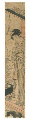 Torii Kiyonaga (Japanese, 1752-1815). Woman on Vernada, 1750-1850. Woodblock print, Hashira-e (pillar print), 26 7/16 x 4 11/16 in. (67.2 x 11.9 cm). Brooklyn Museum, Gift of Herbert Libertson, 86.270.1