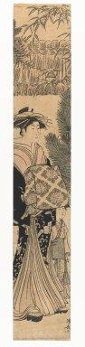 Torii Kiyonaga (Japanese, 1752-1815). Courtesan and Maiko, 1750-1850. Woodblock print, Hashira-e (pillar print), 26 7/8 x 4 1/2 in. (68.3 x 11.4 cm). Brooklyn Museum, Gift of Herbert Libertson, 86.270.2