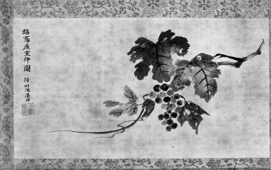 Kano Isen'in (Japanese, 1775-1828). A Branch of a Grapevine, late 18th-early 19th century. Hanging scroll, ink on silk, 48 x 25 in. (121.9 x 63.5 cm). Brooklyn Museum, Gift of Dr. and Mrs. John P. Lyden, 86.271.49