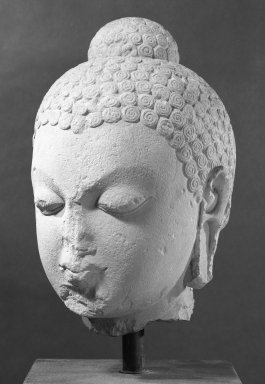Head of Buddha, 5th Century C.E. Sandstone, 17 x 10 1/4 x 10 1/2 in. (43.2 x 26 x 26.7 cm). Brooklyn Museum, Gift of Mr. and Mrs. Paul E. Manheim, 86.272. Creative Commons-BY