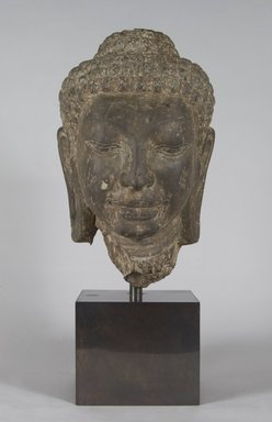 Head of Buddha, 8th century. Schist, 12 1/2 x 7 1/2 x 7 3/4 in. (31.8 x 19.1 x 19.7 cm). Brooklyn Museum, Gift of Mr. and Mrs. Robert L. Poster, 86.274. Creative Commons-BY