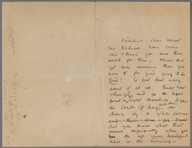 John Singer Sargent (American, born Italy, 1856-1925). Letter to Kathlene MacDonell, n.d. Ink on paper, Sheet (unfolded): 6 7/8 x 8 15/16 in. (17.5 x 22.7 cm). Brooklyn Museum, Gift of Mr. and Mrs. Wilbur L. Ross, Jr., 86.281.3