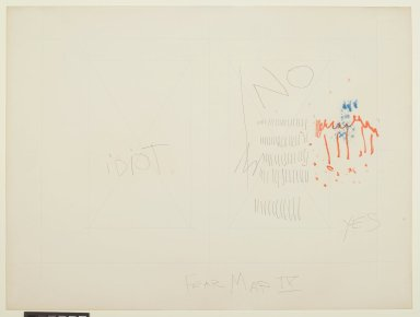 Pat Steir (American, born 1940). Fear Map IX, 1971. Graphite, colored pencil, ink, pastel, and crayon on paper, 14 15/16 x 20 in. (37.9 x 50.8 cm). Brooklyn Museum, Gift of Dr. Barry and Shea Gordon Festoff, 86.291.4. © Pat Steir