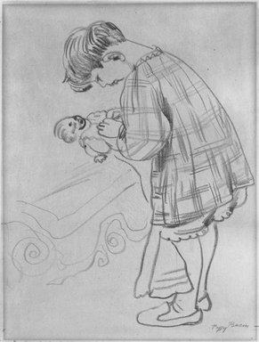 Peggy Bacon (American, 1895-1987). Child and Doll, n.d. Chalk on thin paper mounted to paperboard, Sheet (drawing): 11 1/16 x 8 5/8 in. (28.1 x 21.9 cm). Brooklyn Museum, Bequest of Louise Seaman Bechtel, 86.38.11. © Estate of Peggy Bacon