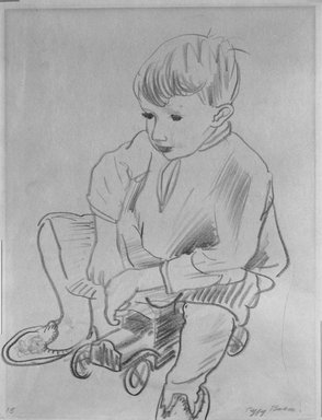 Peggy Bacon (American, 1895-1987). Seated Child, n.d. Chalk on paper, Sheet: 11 1/16 x 8 9/16 in. (28.1 x 21.7 cm). Brooklyn Museum, Bequest of Louise Seaman Bechtel, 86.38.9. © Estate of Peggy Bacon