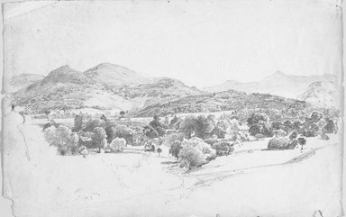 William Trost Richards (American, 1833-1905). Adirondack Landscape, ca. 1857. Graphite on paper, Sheet: 12 1/2 x 19 3/8 in. (31.8 x 49.2 cm). Brooklyn Museum, Gift of Edith Ballinger Price, 86.53.4