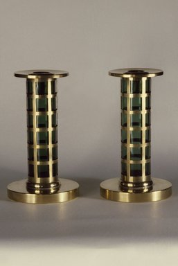 Pairpoint Manufacturing Company (1880-1929). Candlestick, One of Pair, ca. 1910. Brass, glass, 7 x 4 in. (17.8 x 10.2 cm). Brooklyn Museum, Designated Purchase Fund, 86.80.2. Creative Commons-BY
