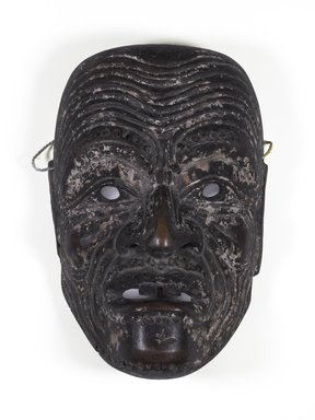 Noh Drama Mask of an Old Man (Kojo), 16th century. Wood, traces of polychrome, horsehair, 8 1/4 x 5 1/4 in. (21 x 13.3 cm). Brooklyn Museum, Designated Purchase Fund, 86.85.1. Creative Commons-BY