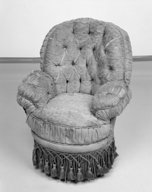 American. Child's Upholstered Wire Frame Armchair, ca. 1890. Walnut, wire frame, original upholstery, 27 x 21 1/2 x 20 in. (68.6 x 54.6 x 50.8 cm). Brooklyn Museum, Gift of David Marshall and Larry Gordon, 87.117. Creative Commons-BY