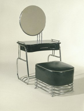Kem Weber (American, born Germany, 1889-1963). Stool, ca. 1934. Chrome-plated tubular steel, upholstery, 17 1/2 x 21 x 22 1/2 in.  (44.5 x 53.3 x 57.2 cm). Brooklyn Museum, Modernism Benefit Fund, 87.123.2. Creative Commons-BY