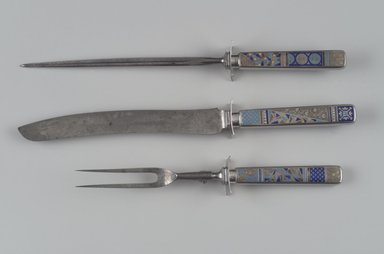 Gorham Manufacturing Company (founded 1865). Fork, Part of Three-Piece Carving Set, ca. 1883. Silver with enamel inlay, steel, 11 1/8 x 1 1/2 x 1 1/8 in. (28.3 x 3.8 x 2.9 cm). Brooklyn Museum, H. Randolph Lever Fund, 87.125.2. Creative Commons-BY