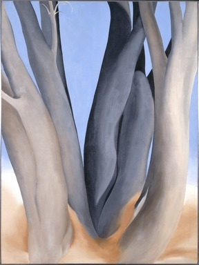 Georgia O'Keeffe (American, 1887-1986). Dark Tree Trunks, 1946. Oil on canvas, 40 x 30 in.  (101.6 x 76.2 cm). Brooklyn Museum, Bequest of Georgia O'Keeffe, 87.136.1. copyright transferred to Brooklyn Museum, 2006