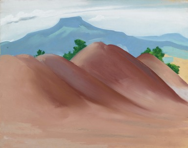 Georgia O'Keeffe (American, 1887-1986). Red Hills with the Pedernal, 1936. Pastel on paper mounted to wood-pulp board, 21 1/2 x 27 1/4 in. (54.6 x 69.2 cm). Brooklyn Museum, Bequest of Georgia O'Keeffe, 87.136.4. copyright transferred to Brooklyn Museum, 2006