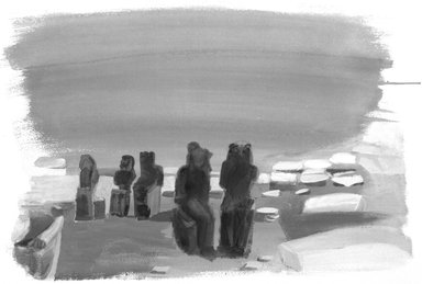 Martyl Langsdorf (American, 1917-2013). Sakhmets at Mut Precinct, 1985. Watercolor on paper, 22 1/2 x 30 1/8 in. (57.1 x 76.5 cm). Brooklyn Museum, Gift of Mrs. Robert M. Benjamin, 87.143. © Estate of Martyl Langsdorf