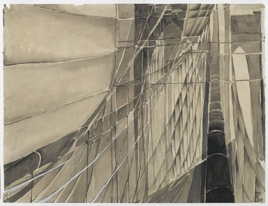Elizabeth Karlinsky-Scherfig (Austrian, 1904-1994). New York / Brooklyn Bridge I, ca. 1928. Wash and gouache on paper, Sheet: 18 7/8 x 24 13/16 in. (48 x 63 cm). Brooklyn Museum, Alfred T. White Fund, 87.160. © Estate of Elizabeth Karlinsky-Scherfig